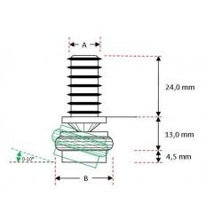 M-rørben, med drejeled og stålkappe, Ø 10 mm.